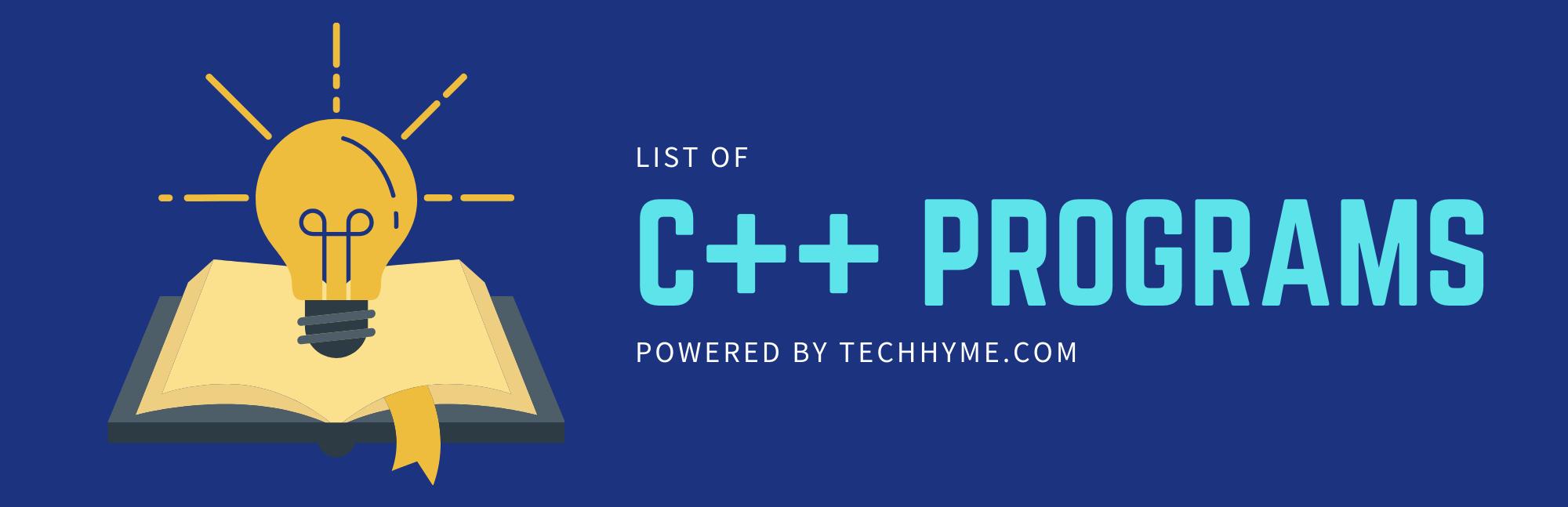 List of C++ programs techhyme